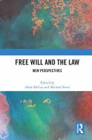 Cover image for Free will and the law  new perspectives