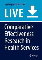 Cover image for Comparative Effectiveness Research in Health Services