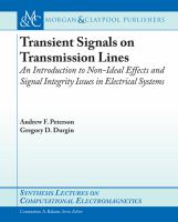 Cover image for Transient signals on transmission lines an introduction to non-ideal effects and signal integrity issues in electrical systems