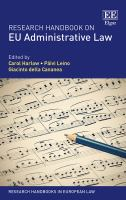Cover image for Research handbook on EU administrative law
