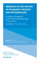 Cover image for Research in the history of economic thought and methodology. Volume 35, part A