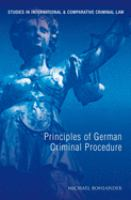 Cover image for Principles of German criminal law