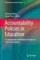 Cover image for Accountability Policies in Education A Comparative and Multilevel Analysis in France and Quebec