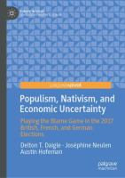 Cover image for Populism, Nativism, and Economic Uncertainty Playing the Blame Game in the 2017 British, French, and German Elections