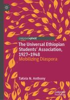 Cover image for The Universal Ethiopian Students' Association, 1927-1948 Mobilizing Diaspora