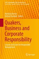 Cover image for Quakers, Business and Corporate Responsibility Lessons and Cases for Responsible Management