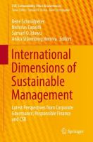 Cover image for International Dimensions of Sustainable Management Latest Perspectives from Corporate Governance, Responsible Finance and CSR