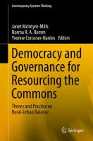 Cover image for Democracy and Governance for Resourcing the Commons Theory and Practice on Rural-Urban Balance