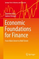 Cover image for Economic Foundations for Finance From Main Street to Wall Street
