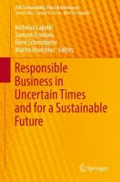 Cover image for Responsible Business in Uncertain Times and for a Sustainable Future