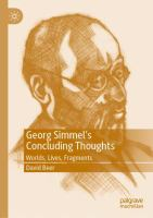 Cover image for Georg Simmel's Concluding Thoughts Worlds, Lives, Fragments