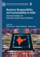 Cover image for Business Responsibility and Sustainability in India Sectoral Analysis of Voluntary Governance Initiatives