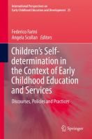 Cover image for Children's Self-determination in the Context of Early Childhood Education and Services  Discourses, Policies and Practices