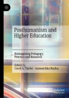 Cover image for Posthumanism and Higher Education Reimagining Pedagogy, Practice and Research