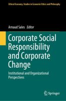 Cover image for Corporate Social Responsibility and Corporate Change Institutional and Organizational Perspectives