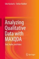 Cover image for Analyzing Qualitative Data with MAXQDA Text, Audio, and Video
