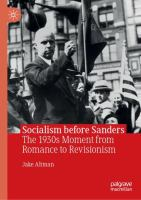 Cover image for Socialism before Sanders The 1930s Moment from Romance to Revisionism