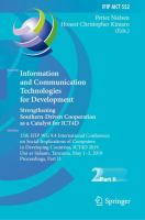 Cover image for Information and Communication Technologies for Development. Strengthening Southern-Driven Cooperation as a Catalyst for ICT4D 15th IFIP WG 9.4 International Conference on Social Implications of Computers in Developing Countries, ICT4D 2019, Dar es Salaam, Tanzania, May 1-3, 2019, Proceedings, Part II