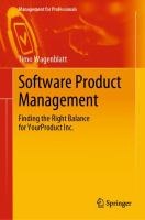 Cover image for Software Product Management Finding the Right Balance for YourProduct Inc.