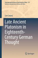 Cover image for Late Ancient Platonism in Eighteenth-Century German Thought