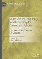 Cover image for Instructional Leadership and Leadership for Learning in Schools Understanding Theories of Leading