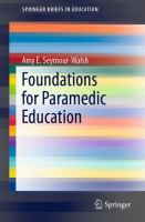Cover image for Foundations for Paramedic Education