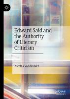 Cover image for Edward Said and the Authority of Literary Criticism