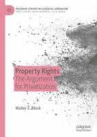 Cover image for Property Rights The Argument for Privatization