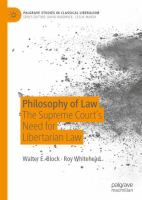 Cover image for Philosophy of Law The Supreme Court's Need for Libertarian Law