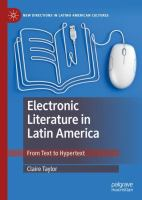 Cover image for Electronic Literature in Latin America From Text to Hypertext