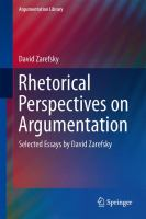 Cover image for Rhetorical Perspectives on Argumentation Selected Essays by David Zarefsky