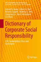 Cover image for Dictionary of Corporate Social Responsibility CSR, Sustainability, Ethics and Governance