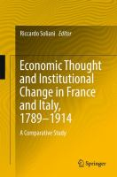 Cover image for Economic Thought and Institutional Change in France and Italy, 1789–1914 A Comparative Study