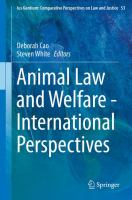 Cover image for Animal Law and Welfare - International Perspectives