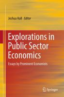 Cover image for Explorations in Public Sector Economics Essays by Prominent Economists