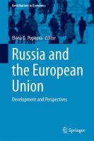 Cover image for Russia and the European Union Development and Perspectives
