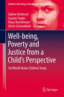Cover image for Well-being, Poverty and Justice from a Child's Perspective 3rd World Vision Children Study