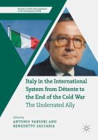 Cover image for Italy in the International System from Détente to the End of the Cold War The Underrated Ally