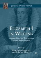 Cover image for Elizabeth I in Writing Language, Power and Representation in Early Modern England
