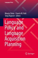 Cover image for Language Policy and Language Acquisition Planning