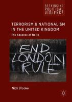 Cover image for Terrorism and Nationalism in the United Kingdom The Absence of Noise