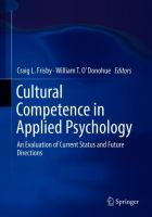 Cover image for Cultural Competence in Applied Psychology An Evaluation of Current Status and Future Directions