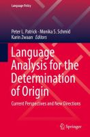 Cover image for Language Analysis for the Determination of Origin Current Perspectives and New Directions