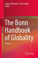 Cover image for The Bonn Handbook of Globality Volume 1