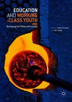 Cover image for Education and Working-Class Youth Reshaping the Politics of Inclusion