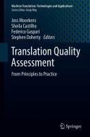 Cover image for Translation Quality Assessment From Principles to Practice