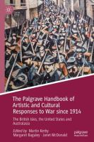 Cover image for The Palgrave Handbook of Artistic and Cultural Responses to War since 1914 The British Isles, the United States and Australasia