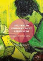 Cover image for Affect Theory and Literary Critical Practice A Feel for the Text