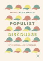 Cover image for Populist Discourse International Perspectives