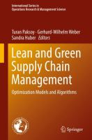 Cover image for Lean and Green Supply Chain Management Optimization Models and Algorithms